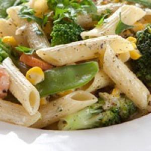 Макароны пенне с овощами