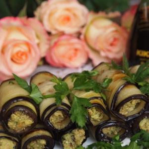 Авокадо - Баклажанные рулетики с авокадо и грецкими орехами