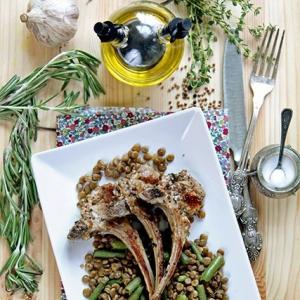 Чечевица - Баранина с зеленой чечевицей и фасолью