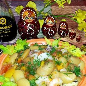 Морепродукты - Белая фасоль с овощами и морепродуктами