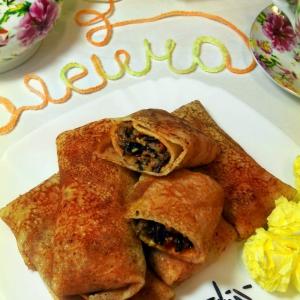 Баранина - Блинчики с бараниной, помидорами и рисом