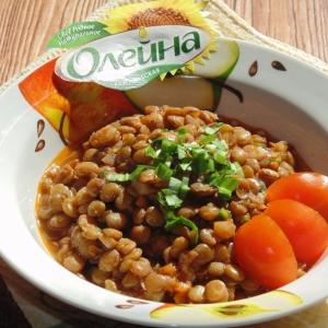 Чечевица - Чечевица с черемшой в томатном соусе