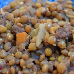 Чечевица - Чечевица тушеная с говядиной и баклажанами