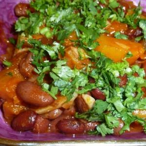 Тыква - Фасоль с острым тыквенным соусом