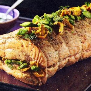 Запеченная рыба - Форель фаршированная лисичками и сельдереем