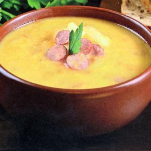 Рецепты супов - Гороховый суп-пюре с баварскими колбасками