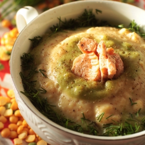 Лосось - Гороховый суп-пюре с лососем