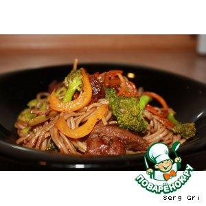 Майоран - Гречневая лапша с говядиной и овощами