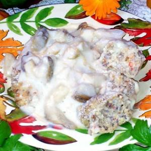 Капуста цветная - Гречневые колбаски с соусом из белых грибов