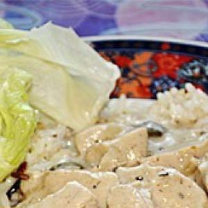 Каперсы - Индейка в луковом белом соусе с каперсами и рисом