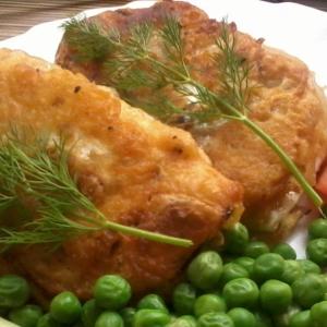 Вегетарианская кухня - Капустные Шницели в темпуре с зеленым горошком