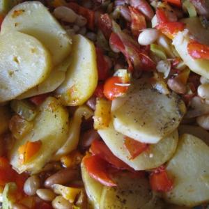 Лук-порей - Картофель печеный с овощами