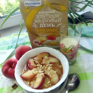 Персик - Каша-десерт с карамелизированным персиком