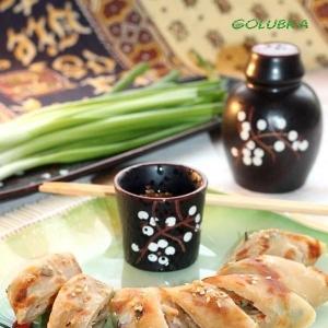Рис - Корейские постные лепёшки с острым соусом