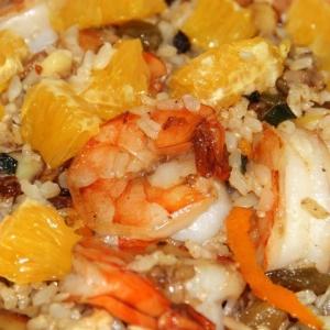 Рецепты из круп - Коричневый рис с креветками