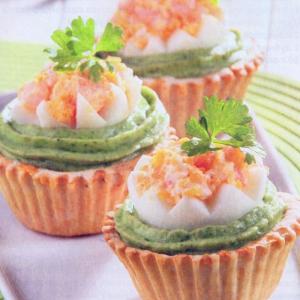 Рецепты из яиц - Корзиночки с креветками и чили