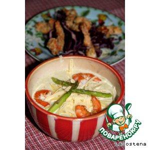 Спаржа - Крем-суп из цукини с креветками