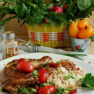 Рис - Курица в остром соусе с рисом