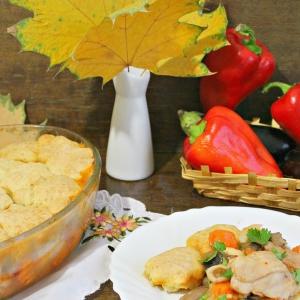 Сморчки и строчки - Курица, запеченная с овощами и булочками