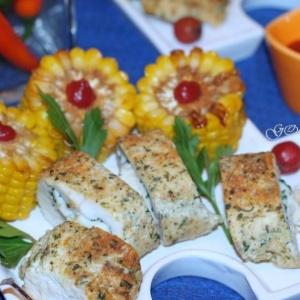 Отварные овощи - Куриная грудка, фаршированная морепродуктами и сыром