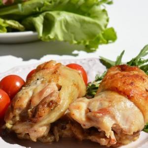 Вешенки - Куриные рулетики-гриль с грибами и сыром