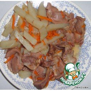 Субпродукты - Куриные желудки в горшочке