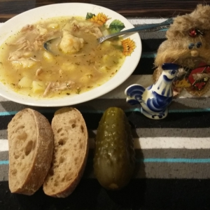 Рецепты супов - Куриный суп с тыквенными клецками