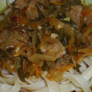 Тушеное мясо - Лагман по-киргизски