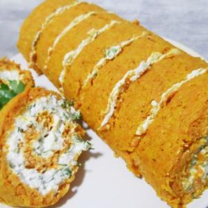 Морковь - Морковный рулет с творожной начинкой