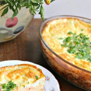 Кабачок - Мясная запеканка с яичной шапочкой