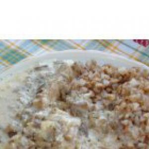 Опята - Мясо в сметанном соусе с грибами