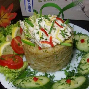Рис - Отварная скумбрия с рисом