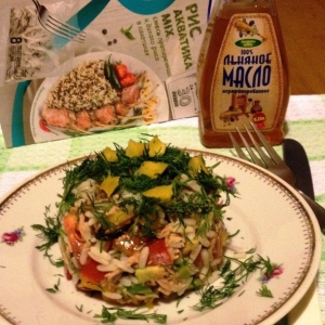 Салаты рыбные - Овощной салат с рисом и тунцом