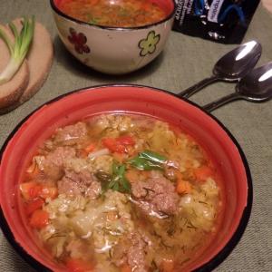 Капуста цветная - Овощной суп с булгуром и фрикадельками