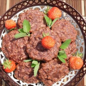 Кокос - Овсяно-клубничное постное печенье