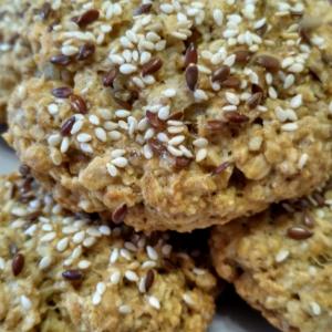 Кунжут - Овсяное печенье с кунжутом и льном
