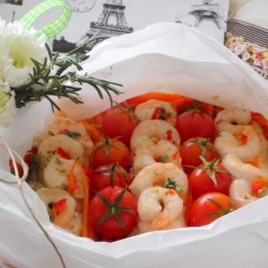Рецепты для блендера - Папийот из рыбы и креветок с овощами