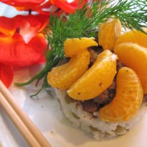 Рецепты из круп - Печень по-японски с мандаринами
