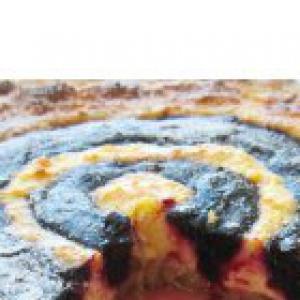 Черная смородина - Песочный пирог с творогом и вареньем