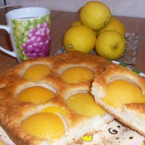 Персик - Пирог с персиками консервированными