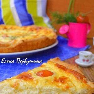 Перец душистый - Пирог с творогом и помидорами черри
