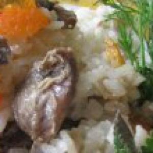 Желудки - Плов с грибами в горшочках