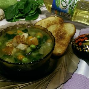 Щавель - Постный суп Весенний букет с гренками