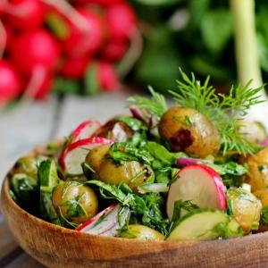 Редис - Постный теплый овощной салат