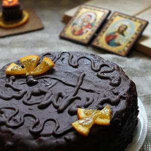 Миндаль - Постный торт Захер с мандариновым джемом