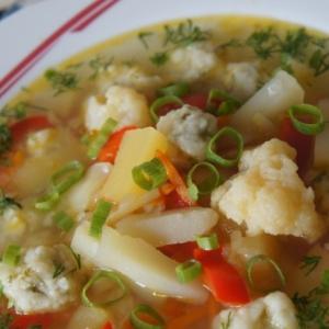 Капуста цветная - Пряный овощной суп с сырными ньоками
