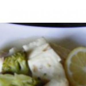Налим - Рагу из рыбы с шампиньонами и брокколи