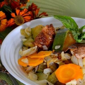 Фасоль - Рагу овощное со свининой и зеленью