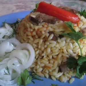 Кальмар - Рис с грибами и кальмарами