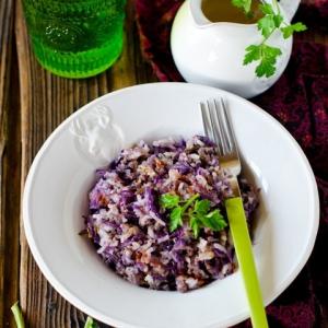 Капуста краснокочанная - Рис с красной капустой и фаршем